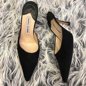Manolo Blahnik Shoes - MANOLO BLAHNIK Matte Satin Pointy Toe Mule Heels